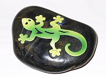Gecko aus Metall auf Stein 6 cm