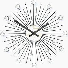 Gedämpfte Mode Schmiedeeisen Wanduhr Schlafzimmer Wanduhr Kreative Wanduhr Uhr Hängen,Black