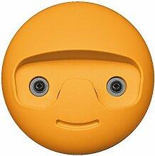 GedoTec® Design Wand-Garderobe Garderobenhaken kinder - Modell SMILE | Mantelhaken Kunststoff gelb | Kleiderhaken Ø 119 mm | Moderner Kinderzimmer Haken sichtbar verschraubt | Markenqualität für Ihren Wohnbereich