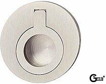 GedoTec® Einlassgriff Muschelgriff Möbelgriff rund aus Messing zum Klappen | Ø 50 mm | 3 Farben | Markenqualität für Ihren Wohnbereich (vernickelt matt)