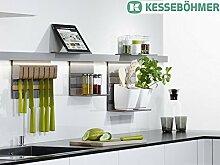 GedoTec® LINERO MosaiQ Starterset MAXI Küchenreling Set | Relingsystem titan-grau | 2 Reling-Set 600 mm Profilleisten | inkl. Papierrollenhalter, Universalablage uvm. | Markenqualität für Ihren Wohnbereich