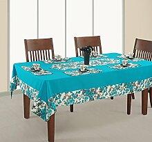 Gedruckte Und Soliden Tisch Decken 4 Sitzer Quadrat 60 X 60 Zoll, 1 Tisch Decken, 4 Servietten, 1 Läufer, Ente 100 % Baumwolle, Dsn14-2711Sp, Aqua