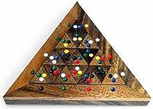 Geduldspiel Farben Dreieck Domino aus Holz natur braun bunt, 15 x 13 x 2 cm, Denkspiel Knobelspiel Holzspiel, witzige Geschenkidee