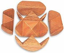 Geduldspiel Magic Ball 3D-Puzzle aus Holz natur braun, Ø ca. 8 cm, Denkspiel Knobelspiel Holzspiel, witzige Geschenkidee Mitnehmspiel