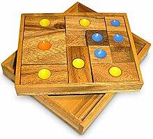 Geduldspiel Schiebung aus Holz natur braun, 14,5 x 12 x 2,5 cm, Denkspiel Knobelspiel Holzspiel, witzige Geschenkidee Mitnehmspiel