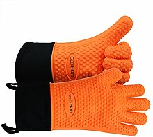 GEEKHOM Grillen Handschuhe, hitzebeständige Handschuhe Grill Küche Silikon Ofenhandschuhe, lange Wasserdicht Rutschfeste Topflappen zum Grillen, Kochen, Backen (Orange)