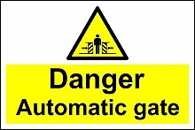 Gefahr Automatische Gate–Safety Sign Schild aus Aluminium–3mm 600mm x 400mm