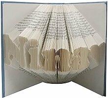 Gefaltetes Buch mit Wunschtext - handgearbeitet -