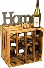 Geflammtes Weinregal für bis zu 16 Flaschen