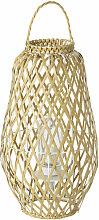 Geflochtene Outdoor-Lampe im Laternen-Look, beige