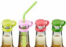 GEFU Kronkorkenverschluss Flaschenverschluss Insektenschutz Flaschenmarkierung mit Trinkhalmschlitz, wiederverwendbar, Silikon, farbig, 4 Stück