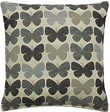 gefüllt grau creme Schmetterling Luxuriöse Dick Chenille Kissen 43,2cm-43cm
