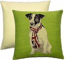 gefüllt Jack Russell Hund Union Jack Schal Grün gewebt 43,2cm-43cm