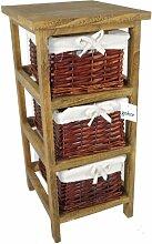 Geko 27 x 31 x 58 cm Layburn 3 Schublade hölzernen Aufbewahrungsschrank mit Korbmöbeln Fen Schubladen / Körbe nicht liefern kann für Schlafzimmer/Badezimmer oder Garderobe - Braun