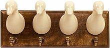 Geko Garderobenhaken Ente, Holz/Keramik/Metall,