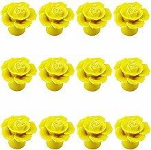 Gelb 12PCS Keramik-Rosen-Blumen-Knopf Porzellan