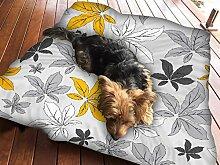 Gelb Blume grau Hundebett Pet Supplies Large Extra XL Gr. Reißverschluss Schutzhülle mit Innenkissen