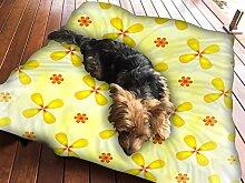 Gelb Blume Hundebett Pet Supplies groß extra Größe XL Reißverschluss Schutzhülle mit Innenkissen
