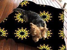 Gelb Blume Schwarz Muster Hundebett Pet Supplies Large Extra XL Größe Reißverschluss Schutzhülle mit Innenkissen