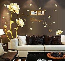 Gelb Blumen Schmetterlinge Englisch Buchstaben Wandtattoo House Aufkleber abnehmbarer Wohnzimmer Tapete Schlafzimmer Küche Art Bild Wandmalereien Sticks PVC Fenster Tür Dekoration + 3D Frosch Auto Aufkleber Geschenk