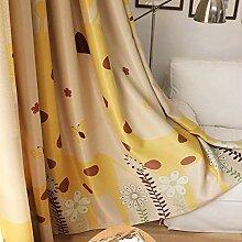 Gelb Giraffe Blickdicht Gardinen Kinderzimmer