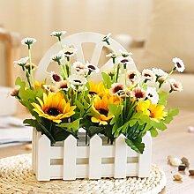 Gelb Künstliche Blumen und Gänseblümchen Zaun von Holz Wand montiert DIY Gartenmöbel–xhopos Home