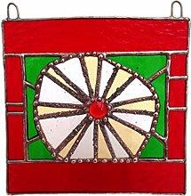 Gelb rot &Buntglas-Tafel, Sonnenschutz, als Geschenk, als Dekoration, Kunst, Großbritannien, Glas