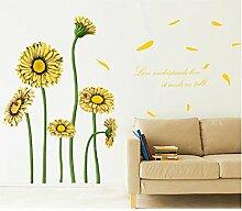 Gelb Sonnenblumen Englisch Buchstaben Wandtattoo House Aufkleber abnehmbarer Wohnzimmer Tapete Schlafzimmer Küche Art Bild Wandmalereien Sticks PVC Fenster Tür Dekoration + 3D Frosch Auto Aufkleber Geschenk