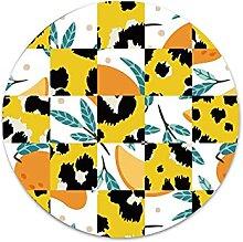 Gelbe geometrische Pflanze Patchwork rund Metall