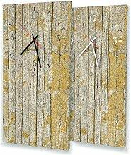 Gelbe Holzlatten alt - Lautlose Wanduhr mit