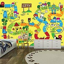 Gelbe Karte Wandbild Fun Stadtplan Foto-Tapete Kinderzimmer Kinderzimmer Dekor Erhältlich in 8 Größen Groß Digital