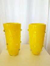 Gelbe Murano Glas Vase, 1980er, 2er Set