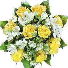 Gelbe Rosen Blumenstrauß groß, mit weißen