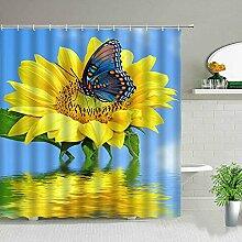 Gelbe Sonnenblume Blume Schmetterling Duschvorhang