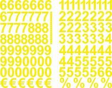 Gelbe Zahlen Aufkleber 3cm Hoch - 117 KLEBEZAHLEN