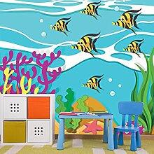 Gelber Fisch Wandbild Unter dem Meer Foto-Tapete Kinderzimmer Wohnkultur Erhältlich in 8 Größen Riesig Digital