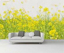 Gelber Raps 3D Tapeten -200Cmx140Cm Blumen Frisch