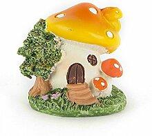 Gelbes Pilzhaus mit geschlossener Tür aus Harz DIY Gartendeko Puppenhaus-Ausschmückung Miniatur Mini-Welt als Geschenk