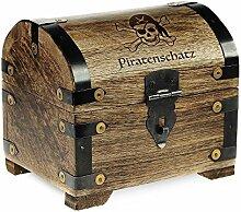 Geld-Schatztruhe mit Gravur – Piratenschatz - Standard - Farbe Dunkel - Bauernkasse - Schmuckkästchen - Spardose - Aufbewahrungsbox aus Holz - lustige Geburtstagsgeschenk-Idee - 14 x 11 x 13 cm