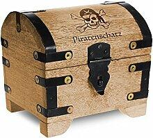 Geld-Schatztruhe mit Gravur – Piratenschatz - Standard - Farbe Hell - Bauernkasse - Schmuckkästchen - Spardose - Aufbewahrungsbox aus Holz - lustige Geburtstagsgeschenk-Idee - 14 x 11 x 13 cm
