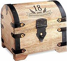 Geld-Schatztruhe zum 18. Geburtstag mit Gravur - Hell - Bauernkasse - Schmuckkästchen - Spardose - Aufbewahrungsbox aus Holz - lustige und originelle Geburtstagsgeschenk-Idee - 14 cm x 11 cm x 13 cm