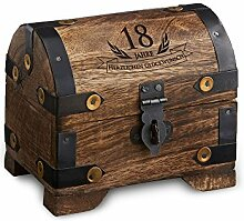 Geld-Schatztruhe zum 18. Geburtstag mit Gravur - Klein - Dunkel - Bauernkasse - Schmuckkästchen - Spardose - Aufbewahrungsbox aus Holz - lustige und originelle Geburtstagsgeschenk-Idee - 10 cm x 7 cm x 8,5 cm