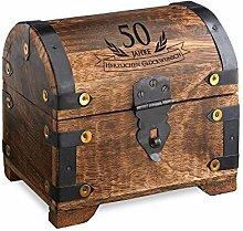 Geld-Schatztruhe zum 50. Geburtstag mit Gravur - Dunkel - Bauernkasse - Schmuckkästchen - Spardose - Aufbewahrungsbox aus Holz - lustige und originelle Geburtstagsgeschenk-Idee - 14 cm x 11 cm x 13 cm