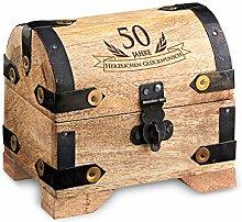 Geld-Schatztruhe zum 50. Geburtstag mit Gravur - Klein - Hell - Bauernkasse - Schmuckkästchen - Spardose - Aufbewahrungsbox aus Holz - lustige und originelle Geburtstagsgeschenk-Idee - 10 cm x 7 cm x 8,5 cm