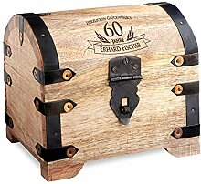 Geld-Schatztruhe zum 60. Geburtstag mit Gravur - Hell – Personalisiert mit Namen - Schmuckkästchen - Spardose - Aufbewahrungsbox aus Holz - Geburtstagsgeschenk-Idee - 14 cm x 11 cm x 13 cm
