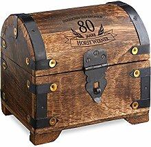 Geld-Schatztruhe zum 80. Geburtstag mit Gravur - Dunkel – Personalisiert mit Namen - Schmuckkästchen - Spardose - Aufbewahrungsbox aus Holz - Geburtstagsgeschenk-Idee - 14 cm x 11 cm x 13 cm