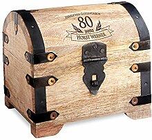 Geld-Schatztruhe zum 80. Geburtstag mit Gravur - Hell – Personalisiert mit Namen - Schmuckkästchen - Spardose - Aufbewahrungsbox aus Holz - Geburtstagsgeschenk-Idee - 14 cm x 11 cm x 13 cm
