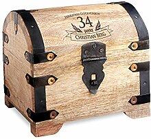 Geld-Schatztruhe zum Geburtstag mit Gravur - Hell – Personalisiert mit Namen und Alter - Schmuckkästchen - Spardose - Aufbewahrungsbox aus Holz - Geburtstagsgeschenk-Idee - 14 cm x 11 cm x 13 cm