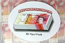 Geld Zigarette Rolling Tipps, gleichen wie Rizla Tipps, Raw Tipps, OCB Tipps, Elements * Schnelle Versand am gleichen Tag nach Zahlung wird gelöscht, £50 Note Tips 50 Full Box