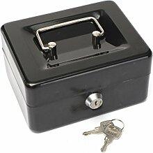 Geldkassette MOHOO Sicherheit Tresor kleine Kasse Edelstahl Spardose Kassette mit Schloss und 2 Schlüssel 15x12x8cm Schwarz